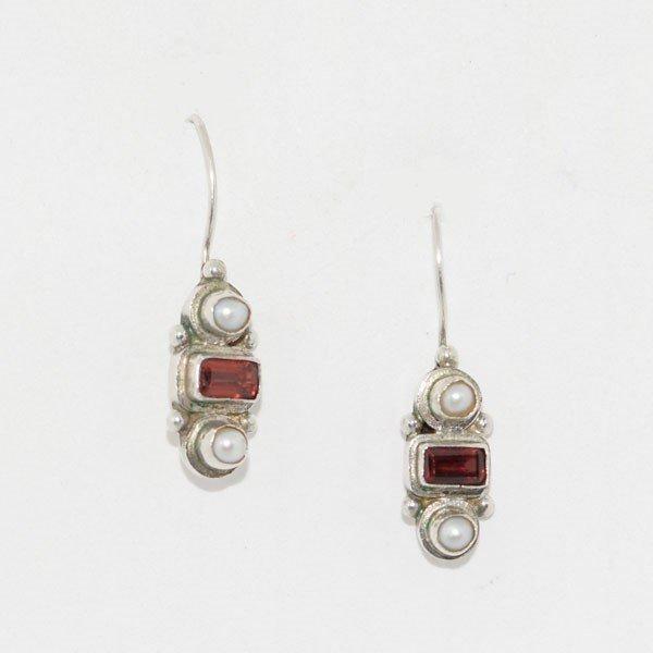 Vintage Sterling Garnet Pearl Drop Earrings