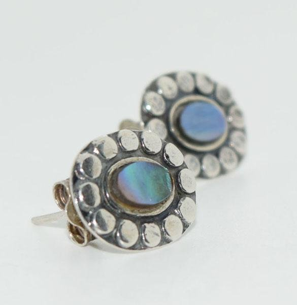 Sterling Dot Framed Abalone Post Earrings