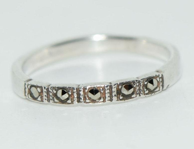 Sterling Thin SZ6.5 Marcasite Ring