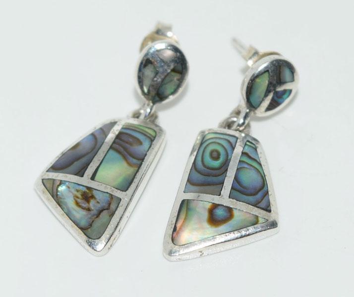 Sterling Abalone Inlaid Geometric Earrings