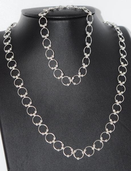 Sterling Circle Beaded Necklace Bracelet Set