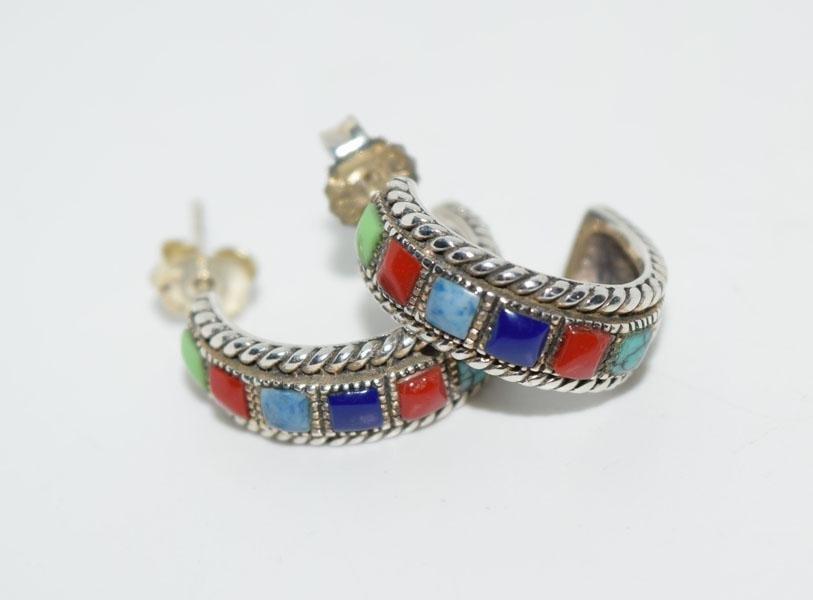 Sterling Silver Natural Stone Half Hoop Earrings