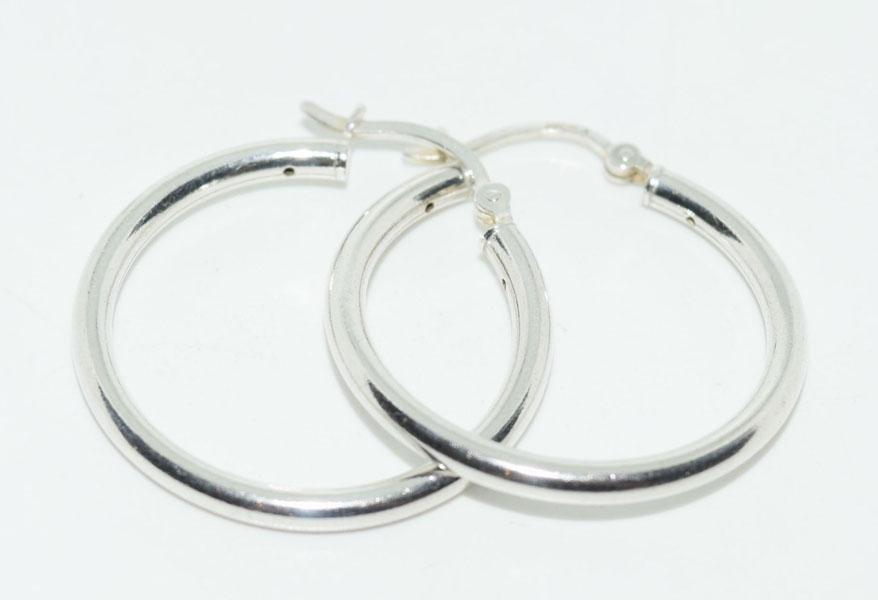 Sterling Silver 30.5mm Drop Hoop Earrings