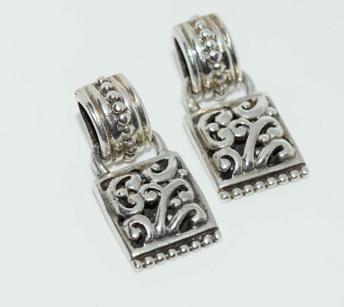 Sterling Silver Scroll Bead Design Earrings