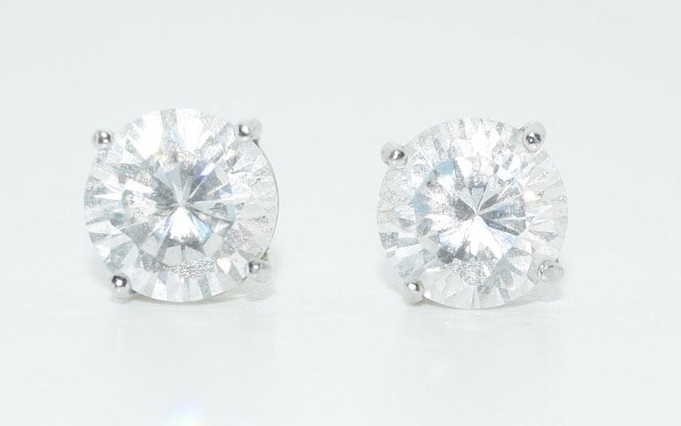 Sterling Silver 8mm Round Solitaire Earrings