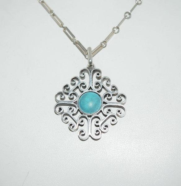 Heavy Sterling Silver Scroll Design Necklace