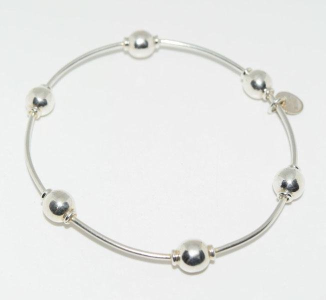 Heavy Mexico Sterling Ball Bangle Bracelet