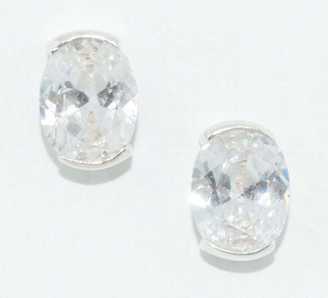 Sterling Silver Oval Cut Post Earrings