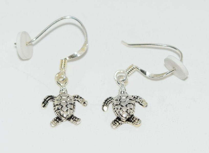 Sterling Turtle Dangle Hook Earrings
