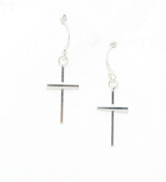 Sterling Silver Straight Cross Hook Earrings