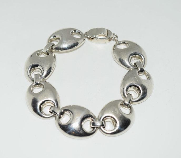 Heavy Sterling Puff Mariner Link Bracelet