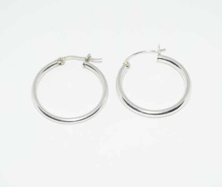 Sterling Silver 26.5mm Drop Hoop Earrings