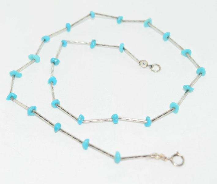 Twisted Liquid Silver Turquoise Nugget Necklace