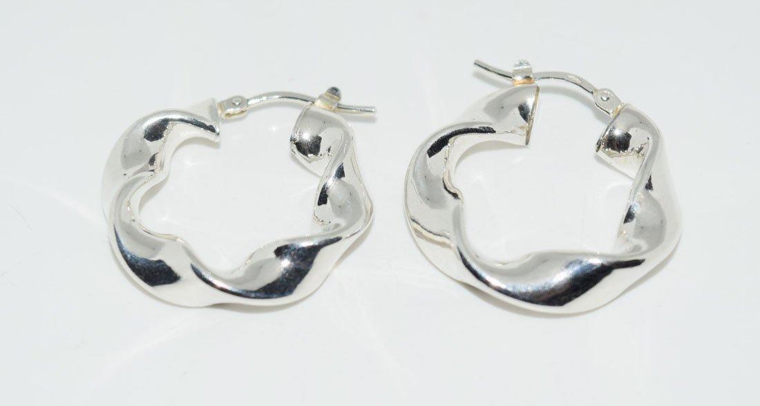 Sterling Puff Twist Hoop Earrings