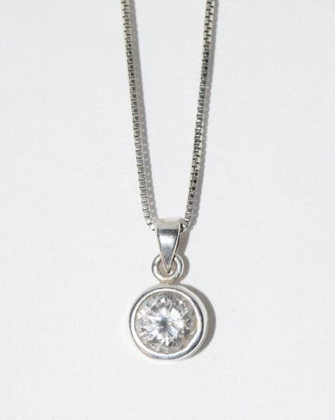 Sterling Silver Bezel Set Solitaire Necklace