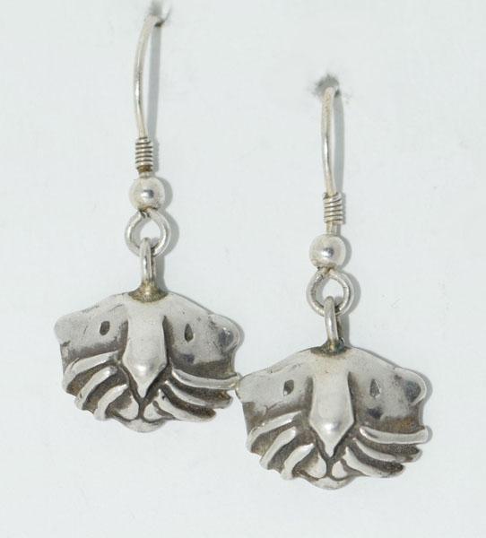 Sterling Silver Cat Face Dangle Earrings