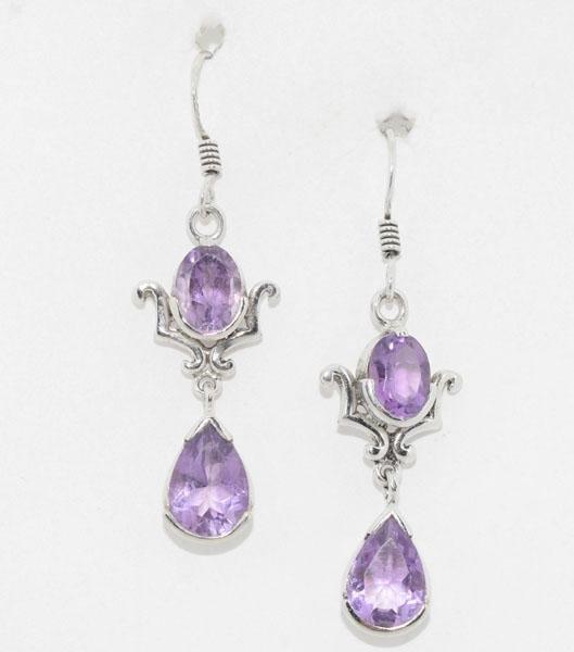 Sterling Tribal Design Amethyst Dangle Earrings