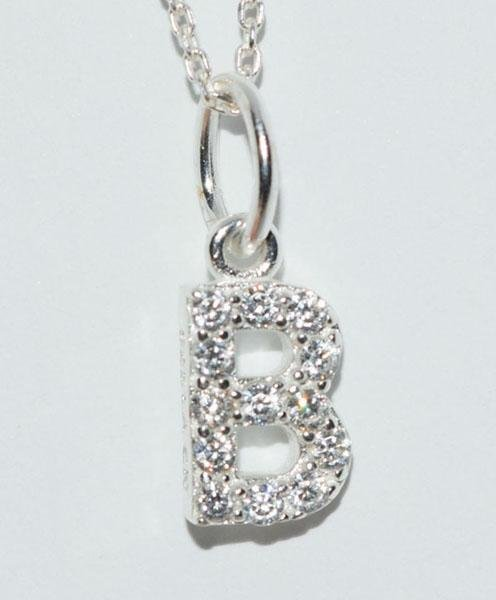 Sterling Silver Sparkling Initial B Necklace
