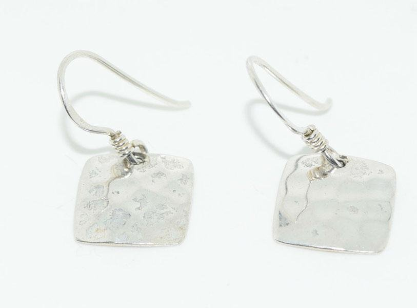 Sterling Hammered Square Dangle Hook Earrings