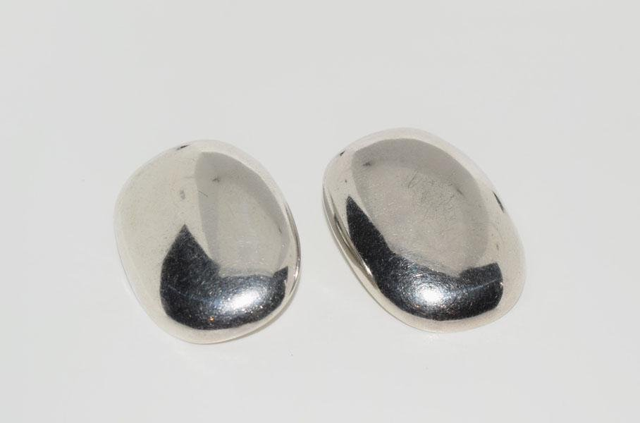 Large Mexico Sterling Puff Clip on Earrings