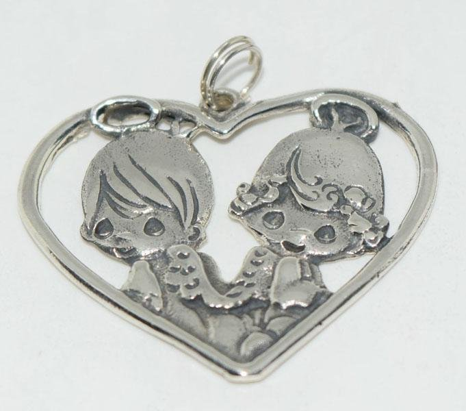 Vintage Sterling Precious Moments Heart Pendant