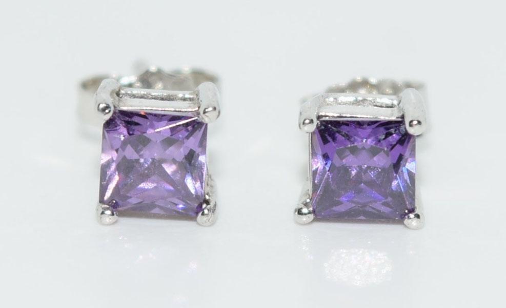 Sterling Silver Princess Cut Post Earrings