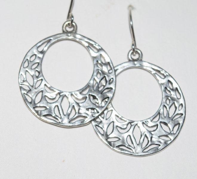 Sterling Silver Cut out Design Hook Earrings