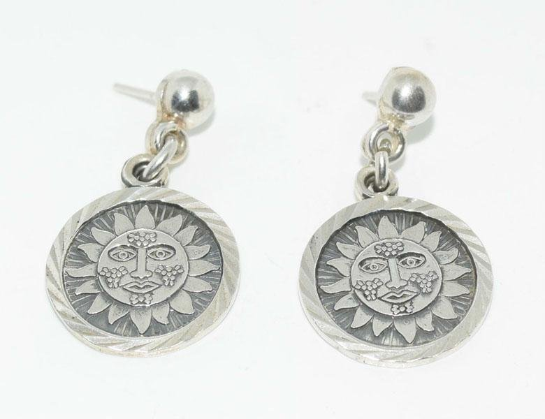 Mexico 750 Silver Sun Dangle Earrings