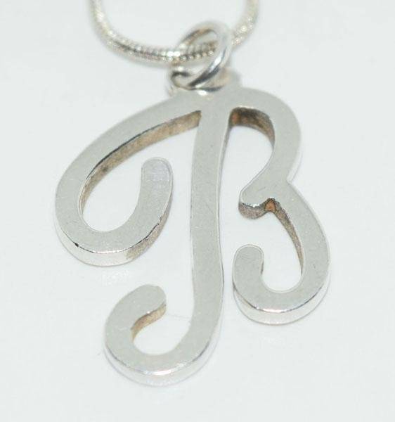 Sterling Silver Script Initial B Necklace