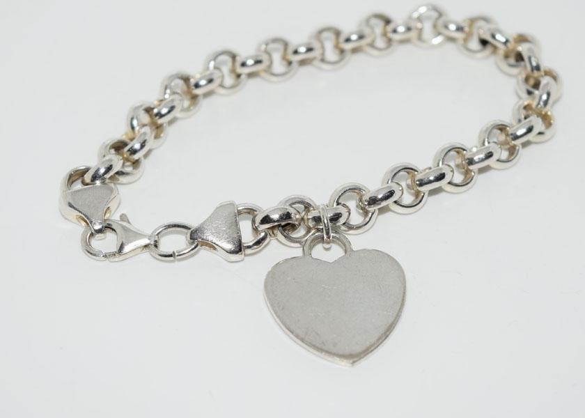 Sterling Heart Charm 8inch Bracelet