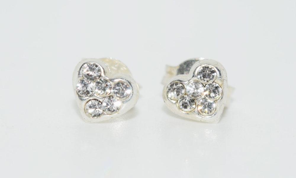 Tested Sterling Rhinestone Heart Post Earrings