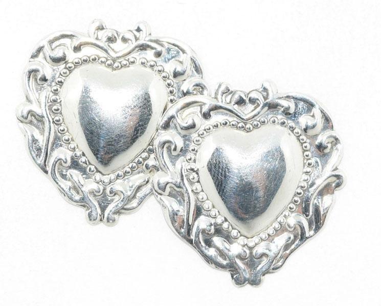 Sterling Silver Fancy Heart Post Earrings