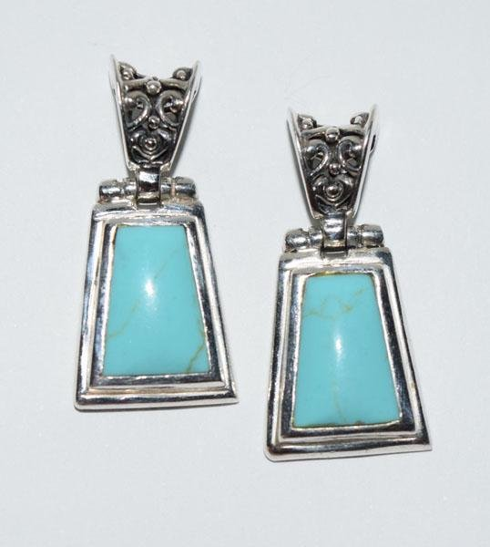 Sterling Turquoise Color Hinged Post Earrings