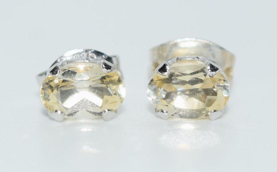 Sterling Silver Oval Gemstone Post Earrings
