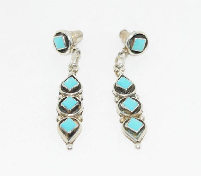 Tested Sterling Turquoise Dangle Earrings
