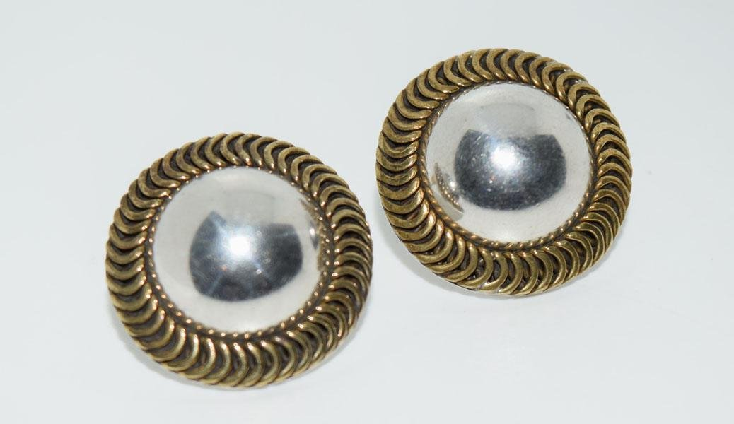 Mexico Sterling Framed Dome Post Earrings