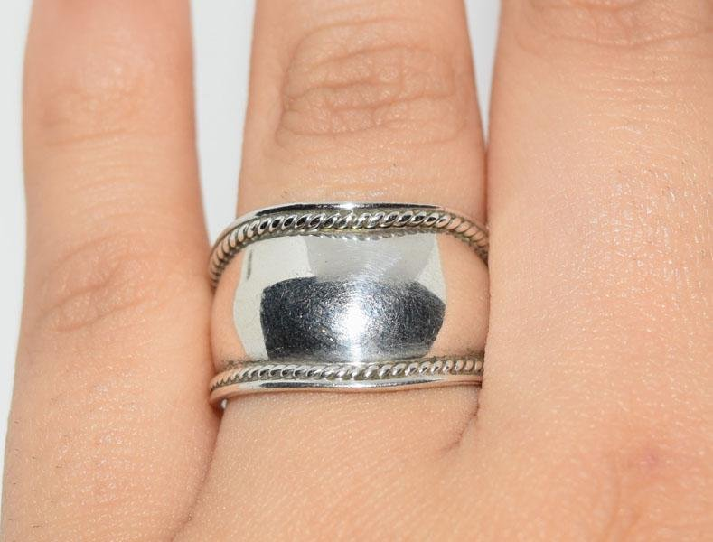 Sterling Silver Rope Design Ring Sz7