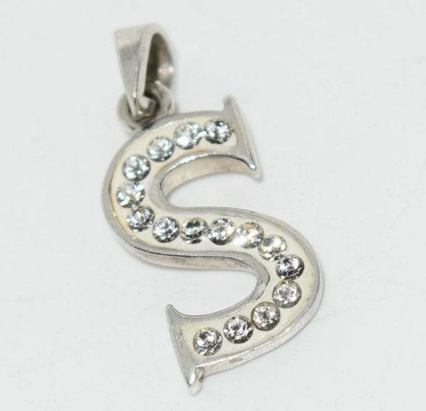 Sterling Silver Crystaluxe Initial S Pendant