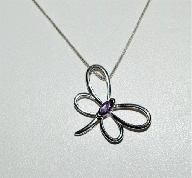 Sterling Amethyst Accent Dragonfly Necklace