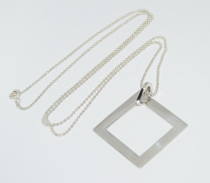 Sterling Silver Square Pendant 30 Inch Necklace
