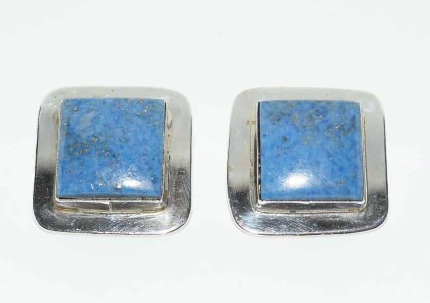 Sterling Silver Lapis Square Post Earrings
