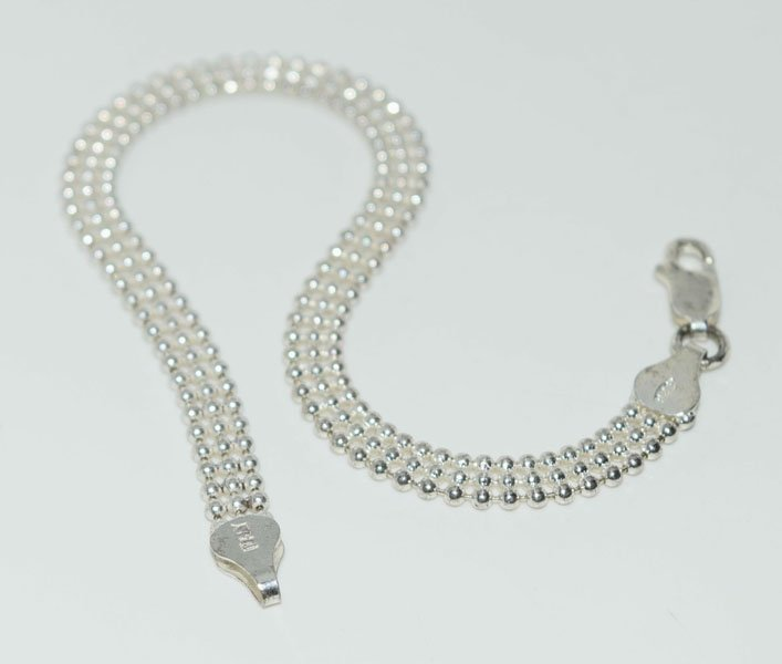Sterling 3 Strand Ball Chain 8inch Bracelet