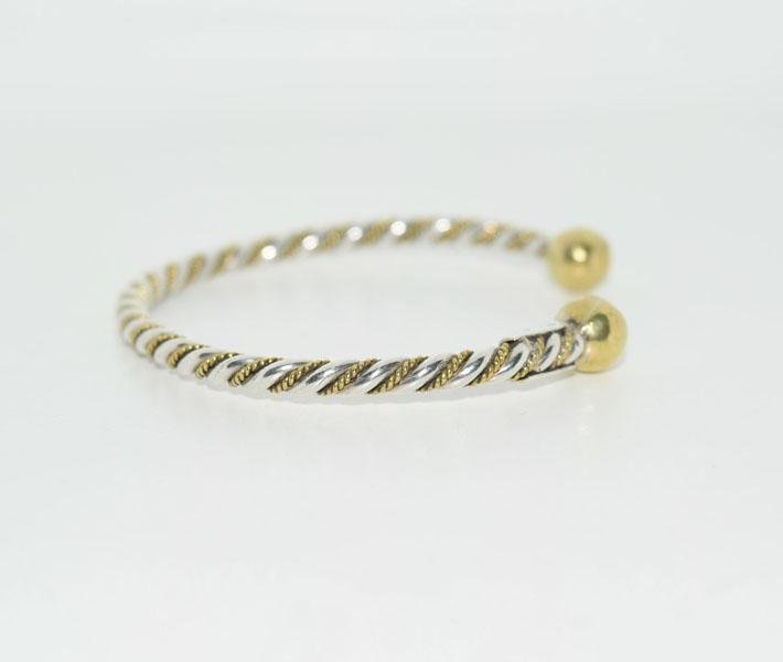 Mexico Sterling Two Tone Twisted Cuff Bracelet