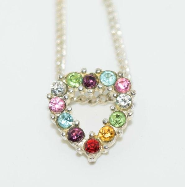Sterling Rainbow Heart Necklace