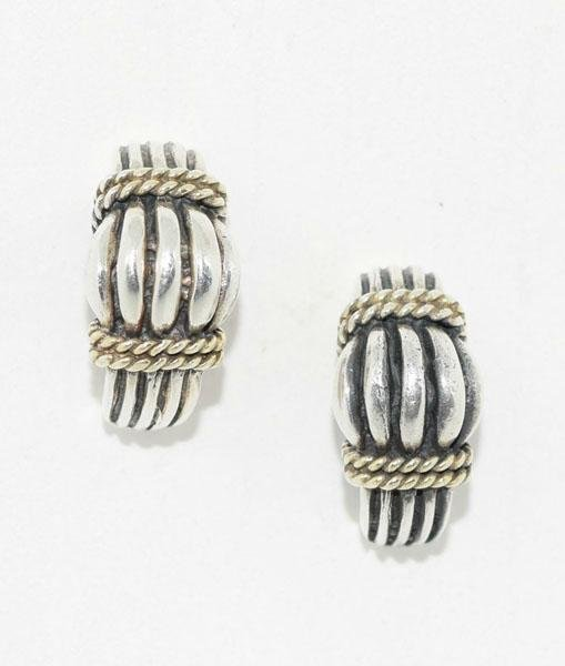 Sterling Cable Rope Design Curved Post Earrings