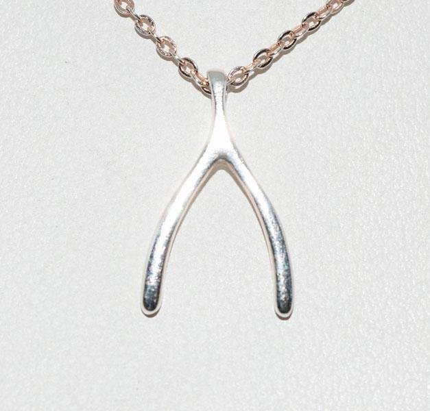 Sterling Rose Gold Wish Bone Necklace