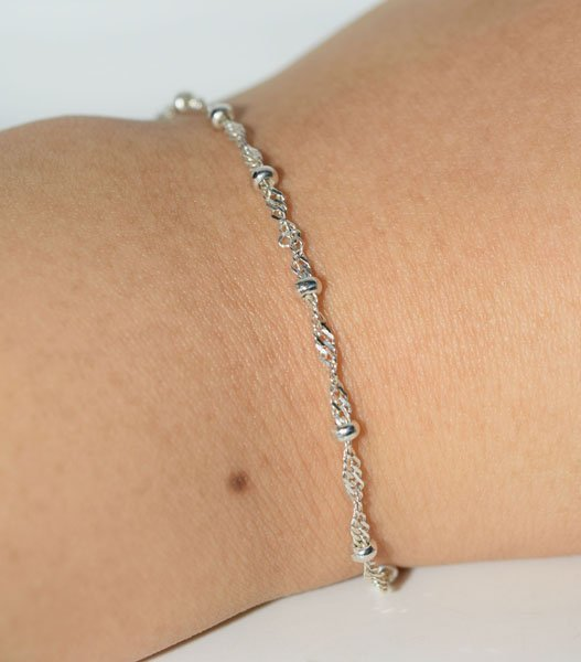 Italy Sterling Ball & Chain 9-10inch Ankle/Bracelet