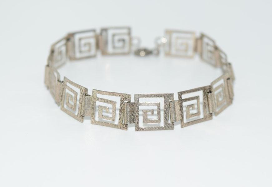 Etched Sterling Greek Key Design Bracelet