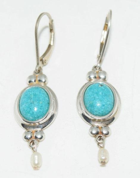Sterling Silver Pearl & Crushed Stone Earrings