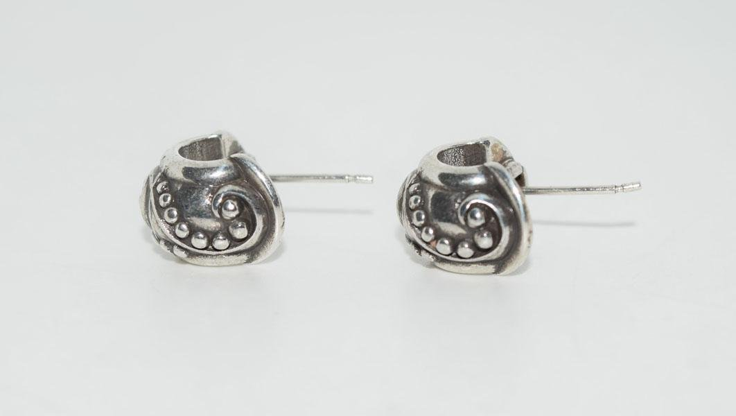 Tested Sterling Bead Design Half Hoop Earrings